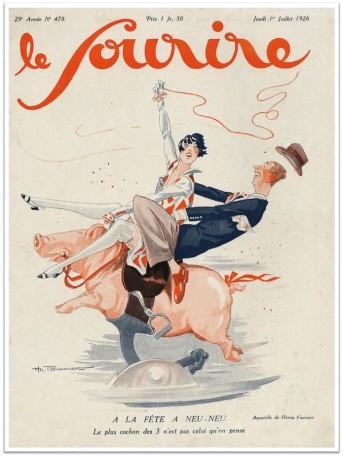 le-sourire-1926-couple-on-pig
