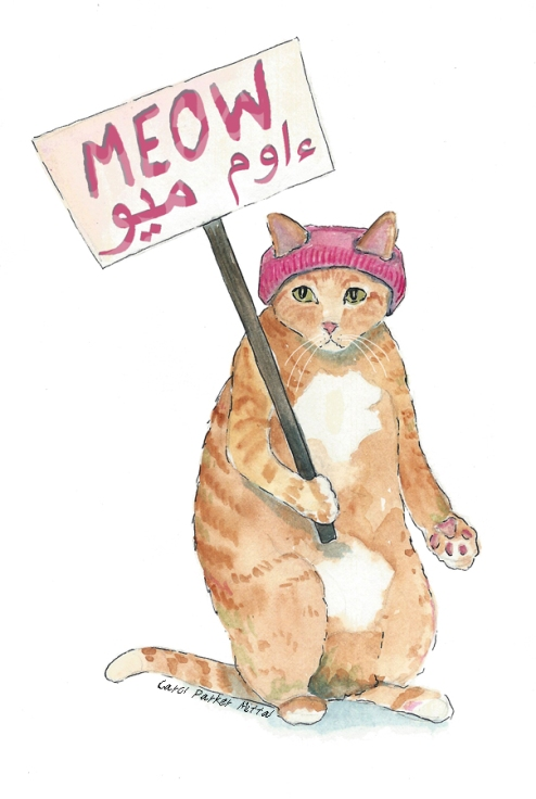 Protest cat. #pussygrabsback #nomuslimban