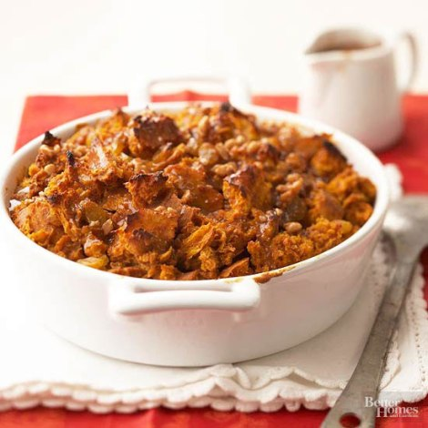 Pumpkin Bread Pudding with Toffee Sauce