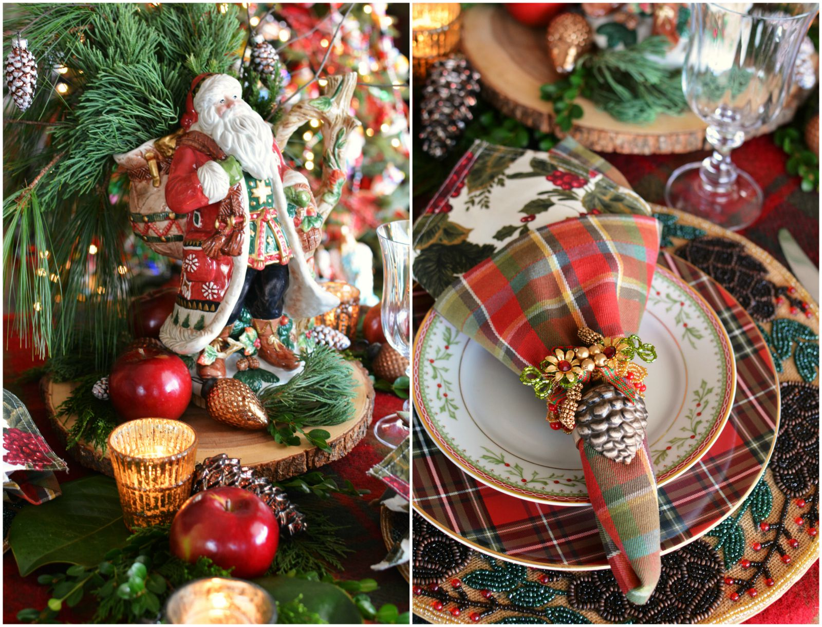 At the Table: Tartan and Fitz and Floyd Christmas Lodge by the Tree