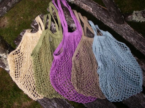 Reusable string bags make a welcome comeback at grocery stores and markets
