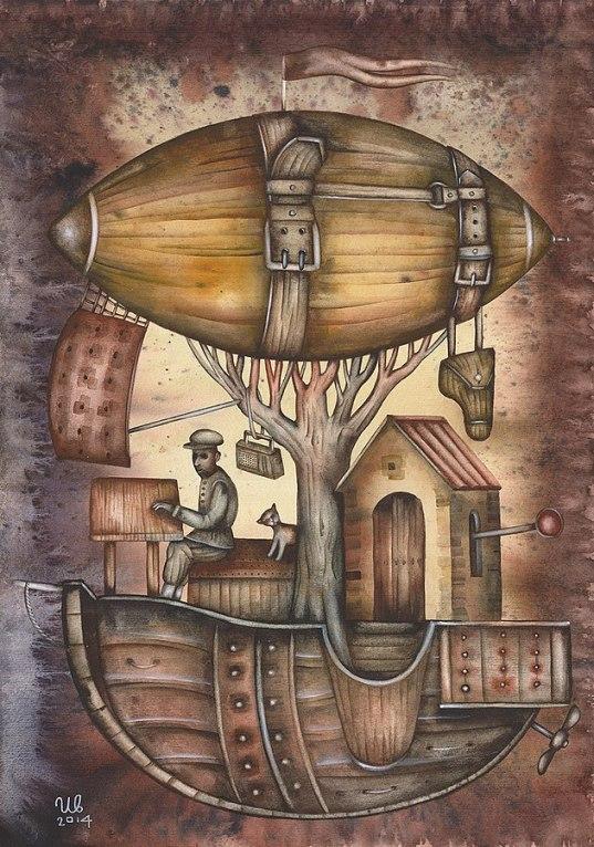 SteamPunk art man baloon stuff Eugene_Ivanov_2406