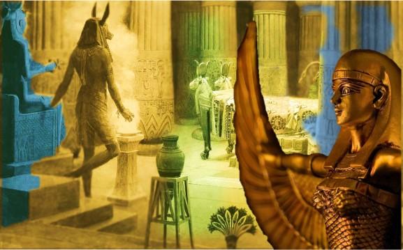 Egyptian temple com Goddes statue