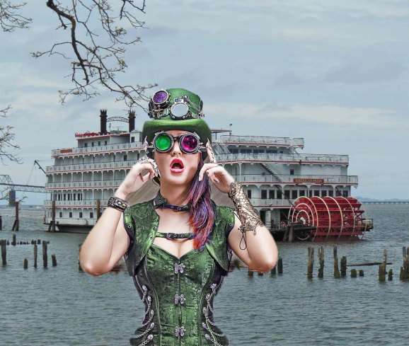 steampunk woman green corset riverboat Pixabay