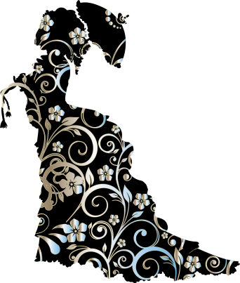 victorian-silhouette flowers Pixabay