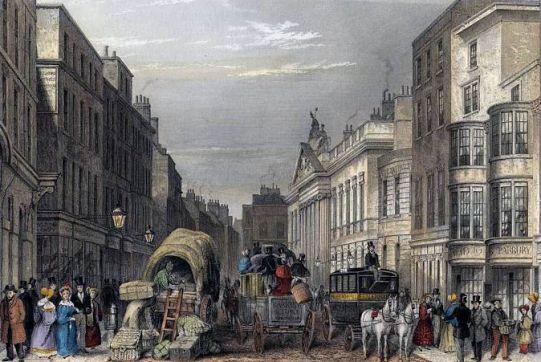 Leadenhall Street London 1837, street scene engraving by J Hopkins, Wikipedia